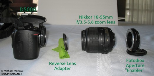 components of reverse lens camera set up lined up
