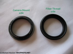 reverse lens adapter front and back side by side comparison