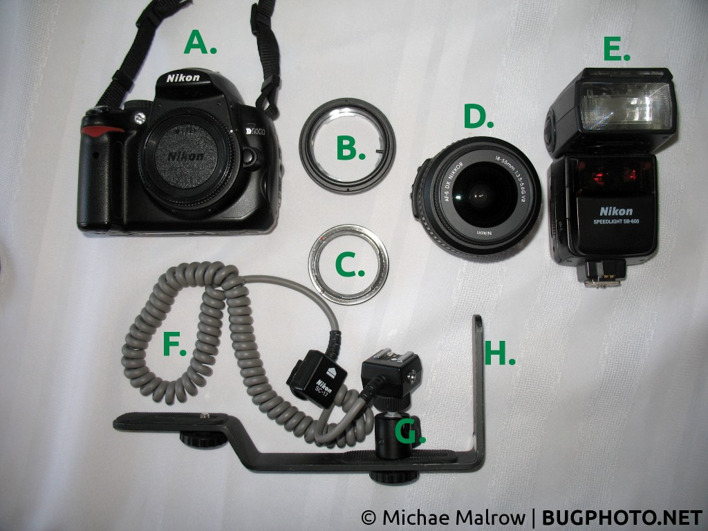 components of a handheld macro photography rig