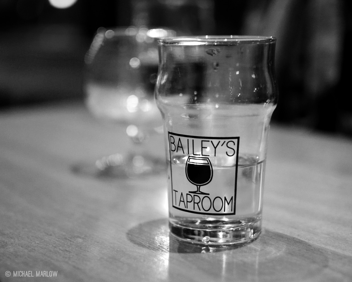 Glass of Cider at Bailey's Taproom in Portland, Oregon. (Black and white version)